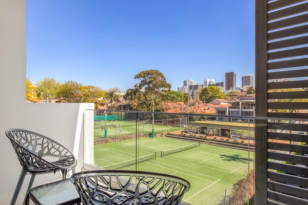 Balcony and Tennis Court
